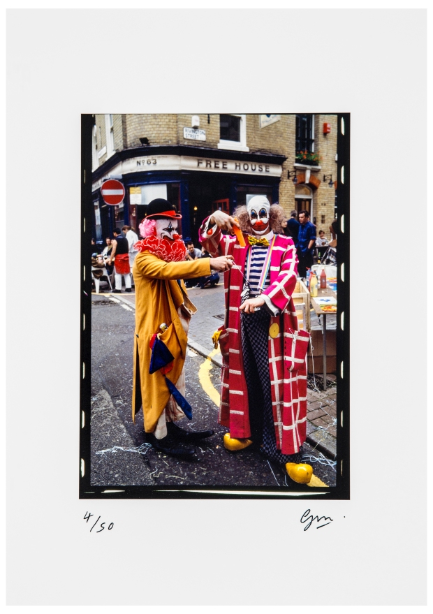 Damien Hirst and Angus Fairhurst at the Fete Worse than Death dressed as Clowns by Guy Moberly.