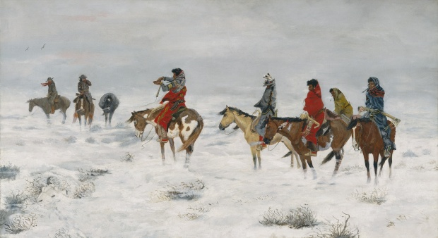 Lost in a Snowstorm – We Are Friends, 1888, Charles M. Russell, Oil on canvas, Amon Carter Museum of American Art, Fort Worth, Texas.