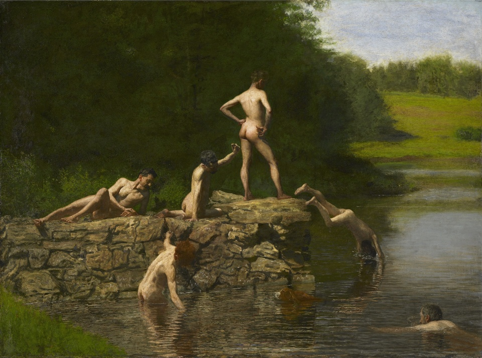 Swimming, 1885, Thomas Eakins, Oil on canvas - Amon Carter Museum, Fort Worth, Texas, Purchased by the Friends of Art, Fort Worth Art Association, 1925; acquired by the Amon Carter Museum, 1990, from the Modern Art Museum of Fort Worth through grants and donations from the Amon G. Carter Foundation, the Sid W. Richardson Foundation, the Anne Burnett and Charles Tandy Foundation, Capital Cities/ABC Foundation, Fort Worth Star-Telegram, The R. D. and Joan Dale Hubbard Foundation and the people of Fort Worth. 1990.19.1.