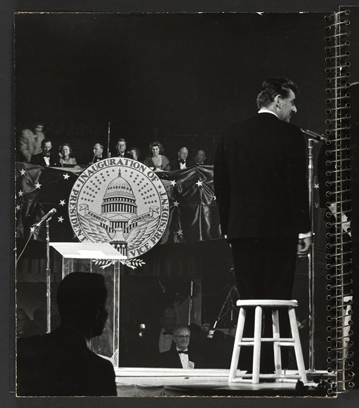 Bernstein onstage at the kennedy Inaguration Ball, organised by Frank Sinatra.