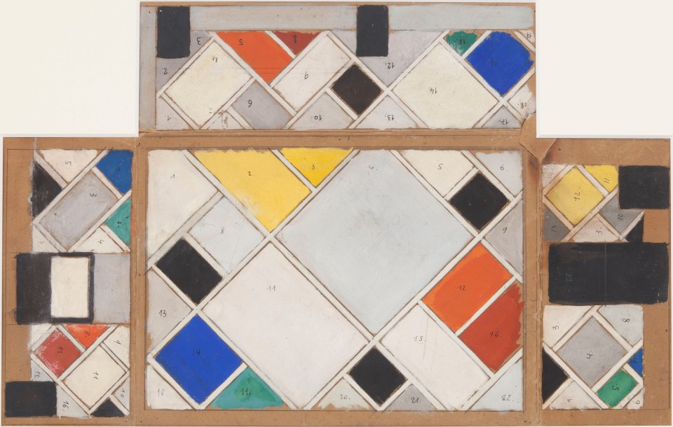 Theo van Doesburg - Colour design for ceiling and three walls, small ballroom, conversion of Café Aubette interior Strasbourg Courtesy Galerie Gmurzynska AG © the Artist. All rights reserved
